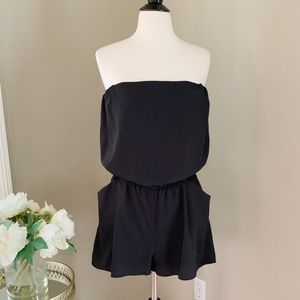 Collective Concepts Solid Black Strapless Romper